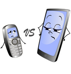 old push-button phone versus a modern smart phone vector image vector image