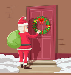 Santa claus with gift bag knock christmas new year vector