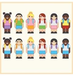 Set of cute cartoon diverse children wearing vector