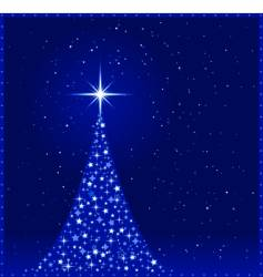 square blue Christmas tree vector image vector image