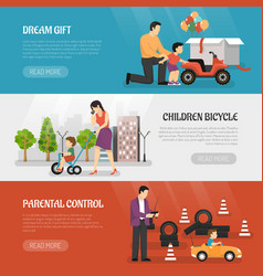toy vehicles banners set vector image vector image