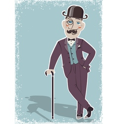 Vintage gentleman in black bowler hat vector image vector image