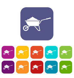 Wheelbarrow loaded with soil icons set vector