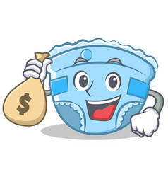 With money bag baby diaper character cartoon vector