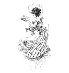 Woman book glance vintage engraving vector