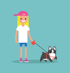 Young smiling blond girl walking the dog flat vector