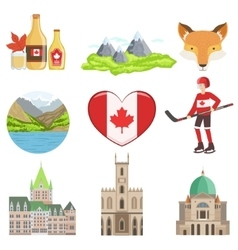 Canadian culture symbols set vector