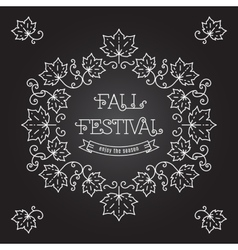 Fall festival template posters frame maple leaves vector