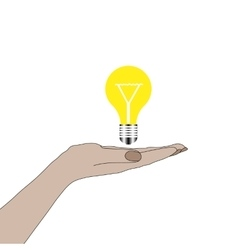 Hand holding lightbulb idea vector