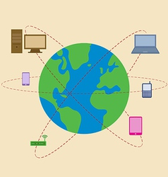 World is surrounded by mobile technology vector image