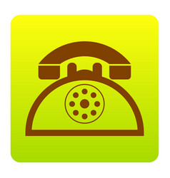 retro telephone sign  brown icon at green vector image