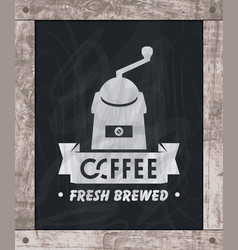 Coffee grinder drawing chalk on board vector
