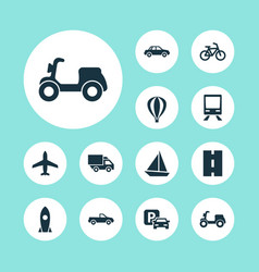 Transportation icons set collection of way road vector