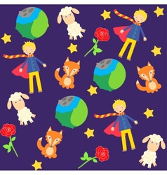 Background with the little prince characters vector