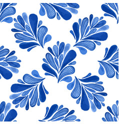 Watercolor floral seamless pattern with blue vector