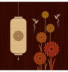 Card with birds flowers and lantern vector image