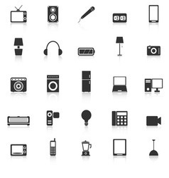 Electrical machine icons with reflect on white vector