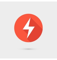 Lightning icon red circle on gray background vector