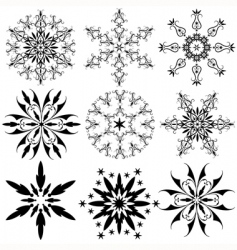 Set of vintage snowflakes vector