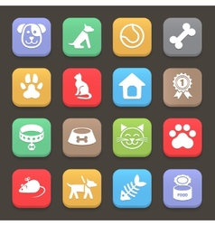 Colorful pets icons set for web or mobile vector