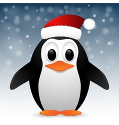 Penguin with santa hat vector