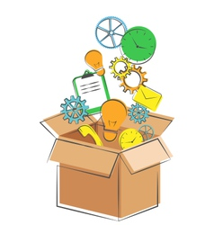 Flat box with business office icons isolated on vector