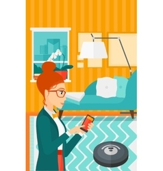 Woman with robot vacuum cleaner vector