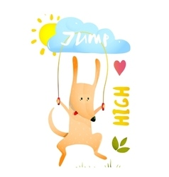 Dog jumping rope kids cartoon vector