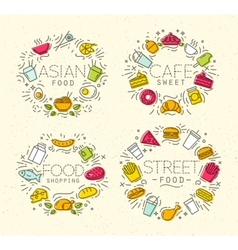 Food flat monograms in retro vector