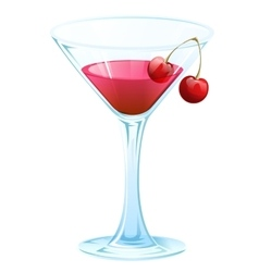Cherry alcohol cocktail vector