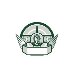 World War One Airman Biplane Circle Retro vector image