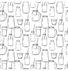 Glass bottles sketches pattern vector