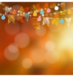 Autumn card Garden party decoration Maple oak vector image vector image