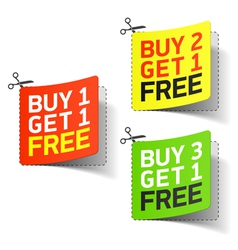 Buy 1 get 1 free promotional coupon vector