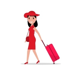 Cartoon fashion woman with travel luggage vector