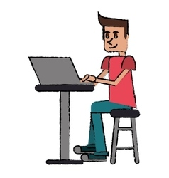 Cartoon young man sitting working computer vector