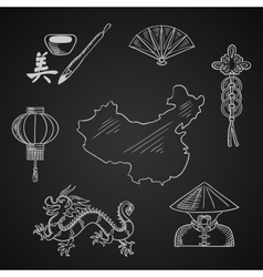 Chinese culture and art icons around a map vector image