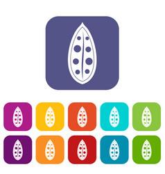 Cocoa pod icons set flat vector