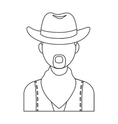 Cowboy icon in outline style isolated on white vector