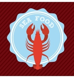 Delicious seafood lobster animal vector