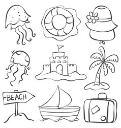 doodle of summer object hand draw vector image vector image