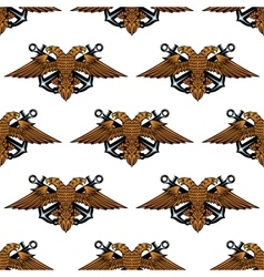 Eagle with crossed anchors seamless pattern vector image
