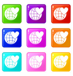 Earth world globe with heart set 9 vector