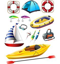 Fishing equipments and boats vector image