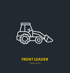 front loader flat line icon transportation vector image