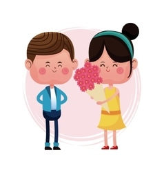 Girl with bucket flowers and boy vector