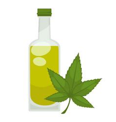 Hemp oil in bottle flat isolated icon vector