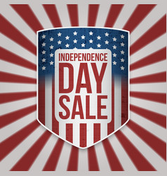Independence day sale shield with text vector
