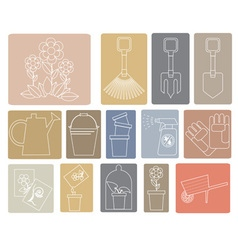 Line icons garden tools vector image