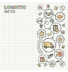 Logistic hand draw integrated icons set on paper vector image vector image
